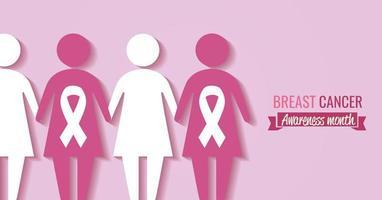 banner do mês de conscientização do câncer de mama com silhueta feminina vetor