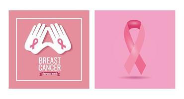 banner do mês de conscientização do câncer de mama com fita vetor