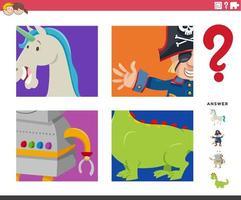 jogo de adivinhação de personagens de fantasia para crianças vetor