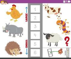 tarefa educacional com espécies animais vetor