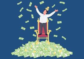 empresário de sucesso com coroa na pilha de dinheiro