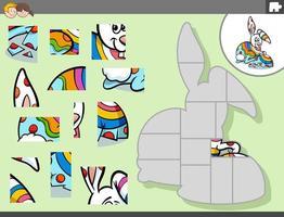 jogo de quebra-cabeça com desenho animado do coelhinho da páscoa vetor