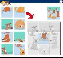 jogo de quebra-cabeça com personagens fofinhos de cachorro vetor