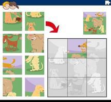 jogo de quebra-cabeça com personagens de cães felizes vetor