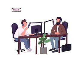 apresentador de programa de rádio e convidado vetor
