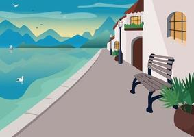 cidade resort à beira-mar vetor