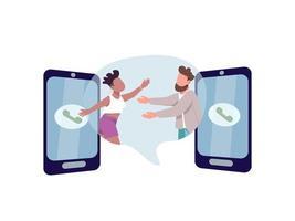 homem e mulher se abraçando pelos telefones vetor