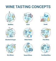 conjunto de ícones do conceito de degustação de vinhos. vetor