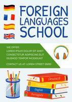 pôster da escola de línguas estrangeiras vetor