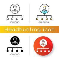 sourcing icon set vetor