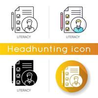 conjunto de ícones de alfabetização vetor