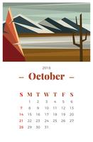 Calendário mensal de outubro de 2018 vetor