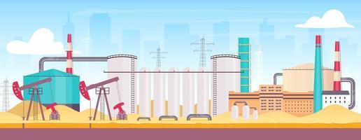 plataforma de petróleo perto da cidade vetor