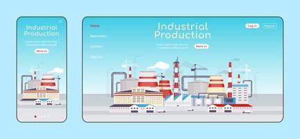 página de destino adaptativa de produção industrial vetor