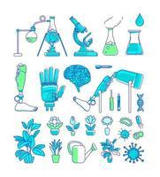 conjunto de objetos de experimentos científicos