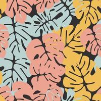 padrão sem emenda de verão com folhas de palmeira monstera coloridas vetor