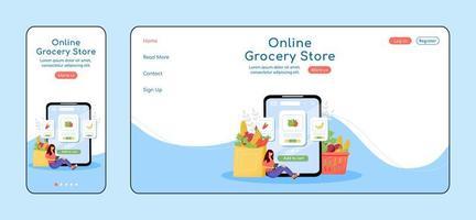 página de destino adaptável de supermercado online vetor