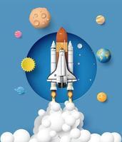 ônibus espacial decolando em missão vetor