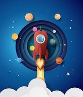 lançamento de foguete espacial e galáxia.
