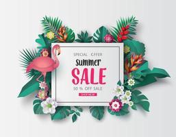 corte de papel de banner de venda de verão vetor