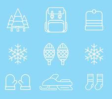 Ícones de atividades de inverno vetor