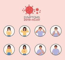 mulher e homem com sintomas do vírus ncov 2019 vetor