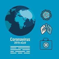 banner de prevenção de coronavírus com ícones médicos