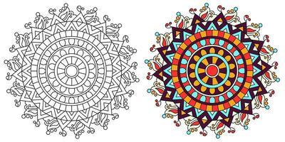 página de livro para colorir desenho de mandala colorida ornamental