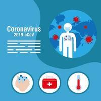 banner de prevenção de coronavírus com ícones médicos vetor