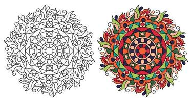 página de livro para colorir de mandala decorativa arredondada e ornamental