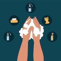 lavagem das mãos e design de conjunto de ícones vetor
