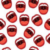 padrão sem emenda abstrato de bocas abertas vetor
