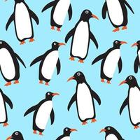 padrão de fundo sem emenda de pinguins vetor