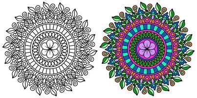 página do livro para colorir de mandala decorativa arredondada para colorir