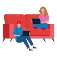 casal no sofá trabalhando em casa vetor