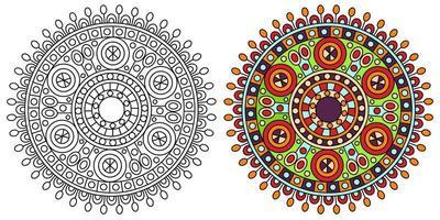 página de livro para colorir de mandala decorativa arredondada e ornamental vetor