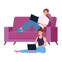 mulheres trabalhando em casa vetor