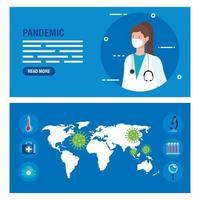 conjunto de banner de prevenção de coronavírus vetor