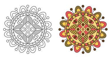 livro de colorir mandala decorativo decorativo arredondado para colorir vetor