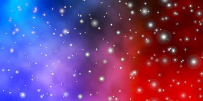 layout azul claro e vermelho com estrelas brilhantes.