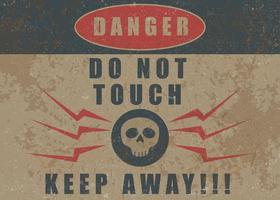 Não toque no cartaz retro de advertência vetor
