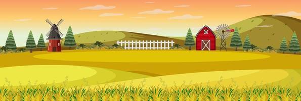 paisagem de fazenda com campo e celeiro vermelho na temporada de outono vetor