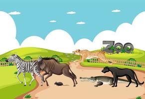grupo de animal africano selvagem no cenário do zoológico vetor
