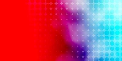 padrão azul claro, vermelho com círculos.