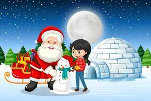 Papai Noel e uma linda garota criando um boneco de neve na cena noturna vetor
