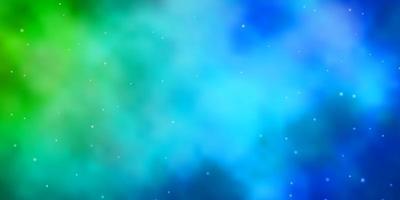 layout azul claro e verde com estrelas brilhantes.