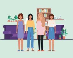 avatares femininos em design de sala de estar vetor
