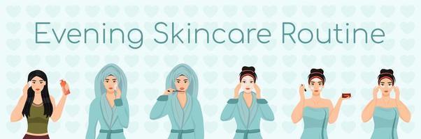 rotina de cuidados da pele feminina à noite vetor