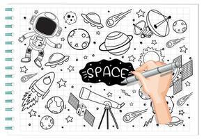 mão desenhando elemento de espaço em estilo doodle ou esboço no papel vetor