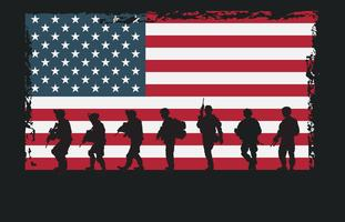 Nós, exército, marinha, selo, silhuetas vetor